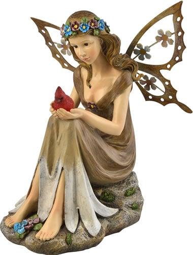 Moonrays 91351 Solar Powered Garden Fairy with Glowing Cardinal