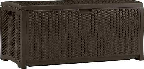 Suncast DBW7300 Mocha Wicker Resin Deck Box