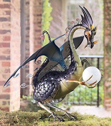 Wind U0026 Weather® Dragon Garden Sculpture With Solar Globe