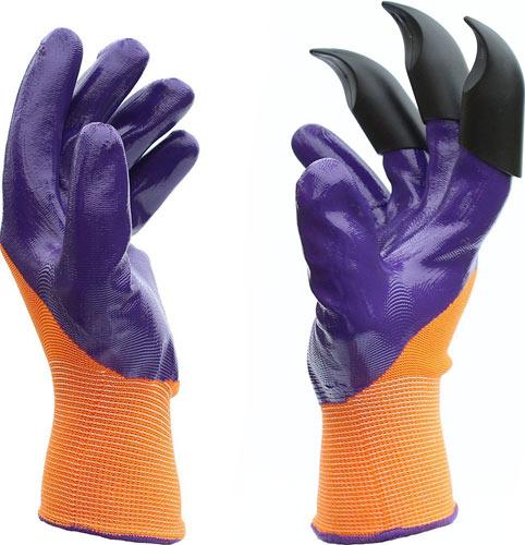 Leeken purple Garden Genie Gloves with Fingertips