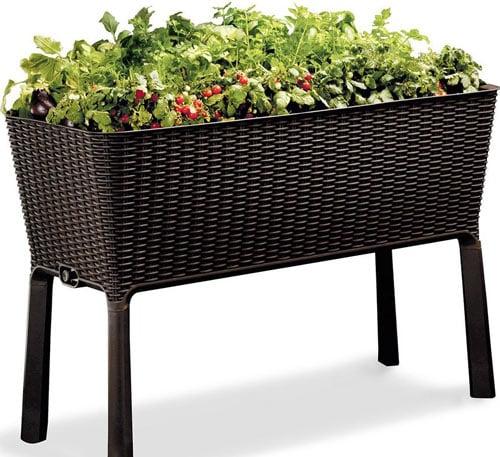 Keter Easy Grow Patio Garden Flower Plant Planter Raised Elevated Garden Bed