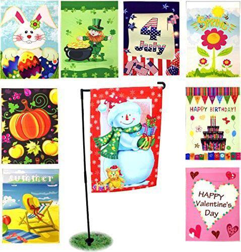 Seasonal Holiday Garden Flags Set of 9